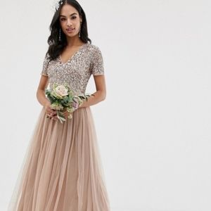 Maya Bridesmaid Tulle Sequin Maxi Dress-Taupe